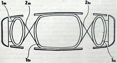 Az alv�z fel�ln�zetb�l. A h�rom alv�zelem (1a, 1b, 1c) a rajzon torzi�s rug�kkal kapcsol�dik �ssze. Az alv�zelemek �n�ll�ak, k�l�n-k�l�n z�rt gy�r�t k�peznek